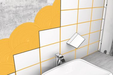 Tile setting in bathroom with Sika Ceram cementitious tile adhesive