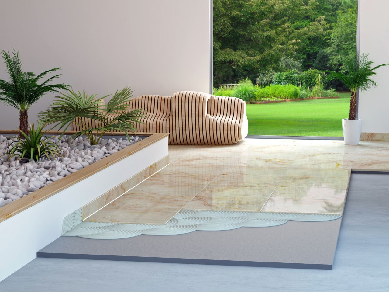 Illustration of large format tile setting adhesive in terrace of home with designer bench and garden