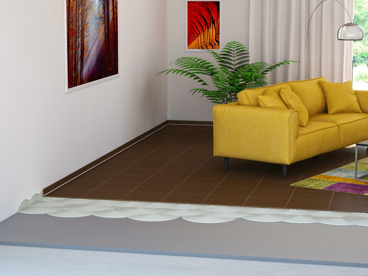 Illustration of tile setting adhesives in living room with yellow sofa