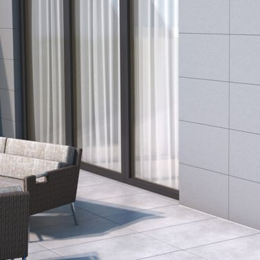 Illustration of tile setting adhesives on facade at terrace of home