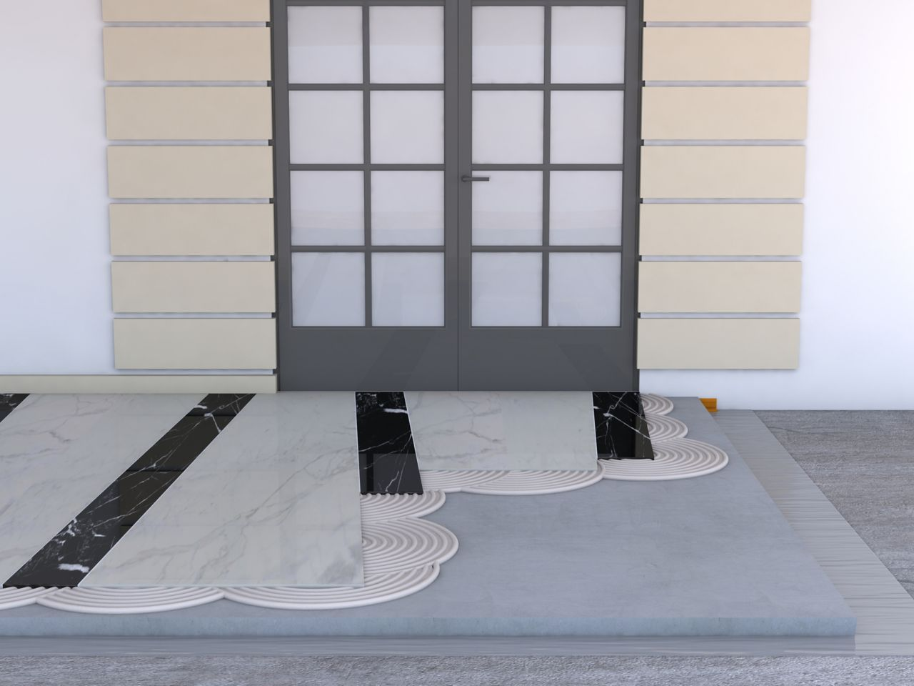 Illustration of tile setting adhesives at entry door terrace with marble stone tiles in black and white