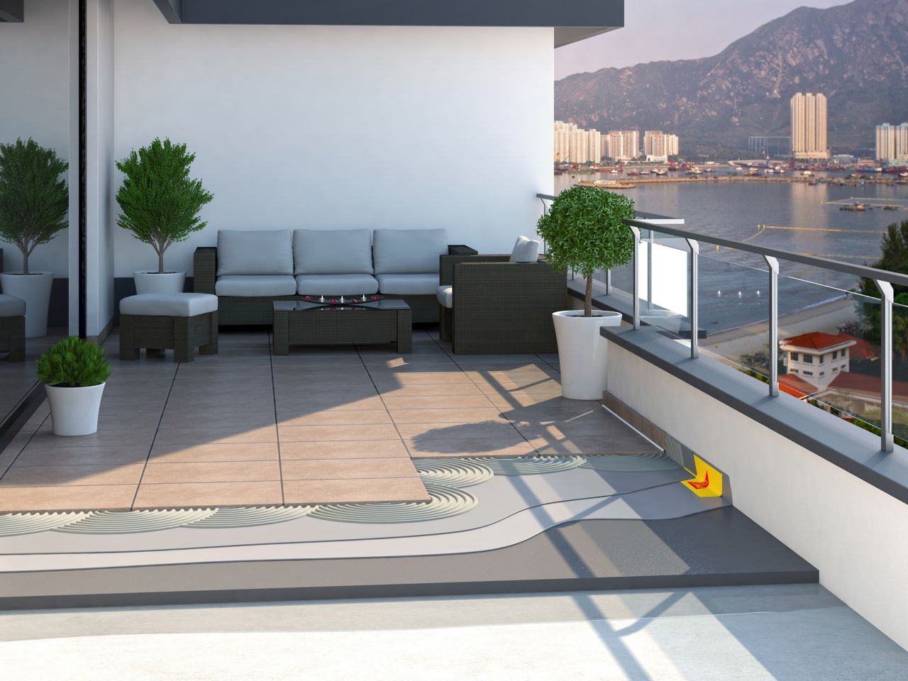 Illustration of tile setting adhesives and waterproofing tape on balcony with furniture overlooking harbor bay city view