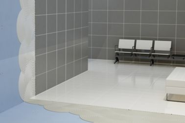 Illustration of tile setting adhesives and tiles on drywall in lobby with chairs