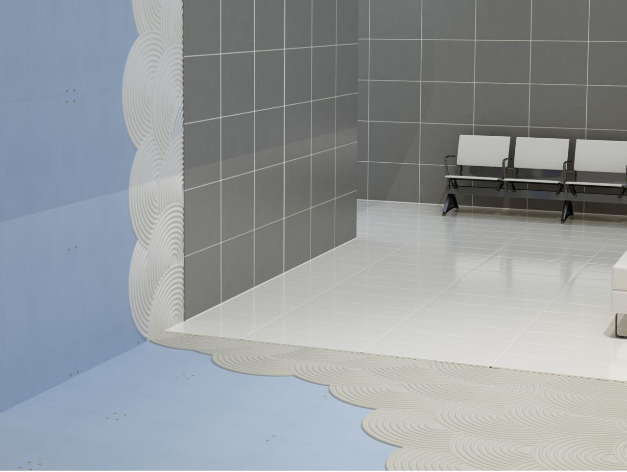 在大厅的石膏板墙上放置粘合剂和瓷砖的插图和椅子