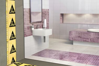 Illustration of tile setting adhesives and tiles in bathroom
