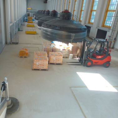 Renovation of floor at hydropower plant in Eglisau, Switzerland