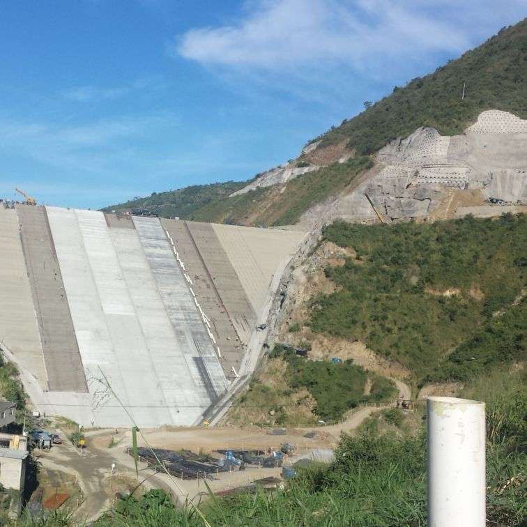 Concrete structure of Tona Dam in Colombia