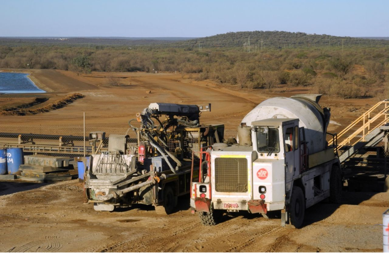 Two trucks at a mining area