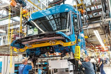 truck production in a factory