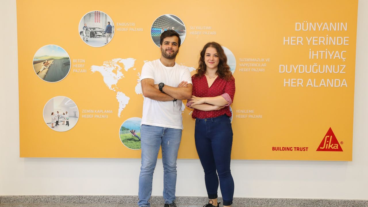 Abdullah and Gizem in front of a Sika sign
