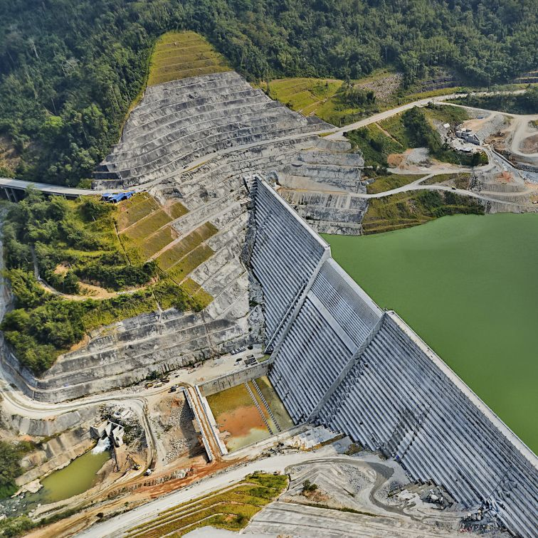 Aerial photo of Ulu Jelai hydropower dam in Malaysia