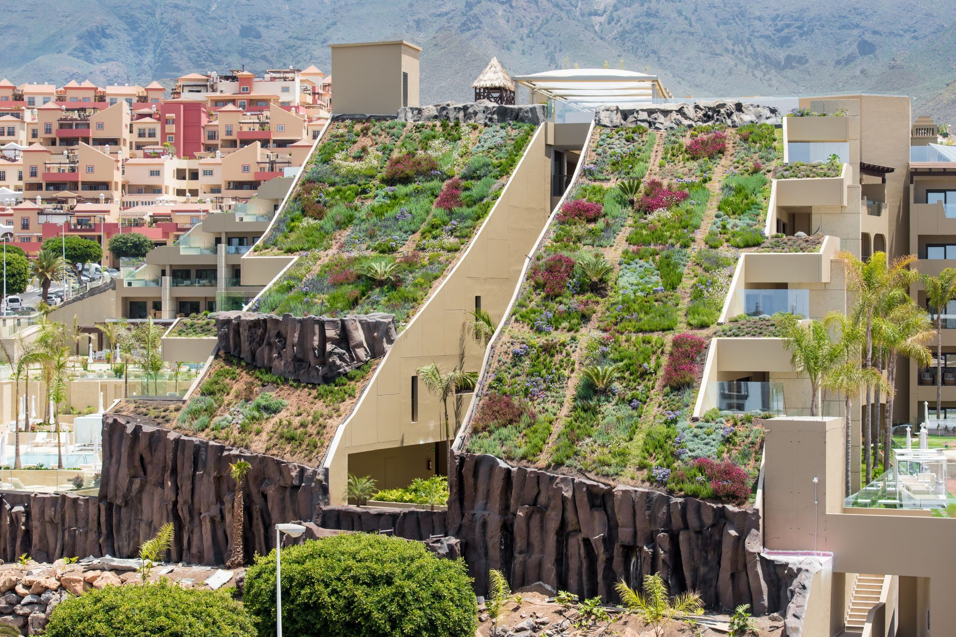 Green roof with single-ply FPO membrane of Sarnafil system installed on GF Victoria Hotel in Tenerife in Spain