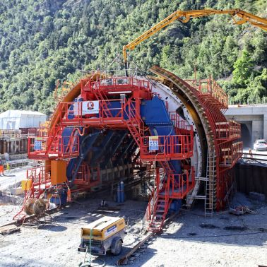 Construction site outside Visp tunnel in Switzerland