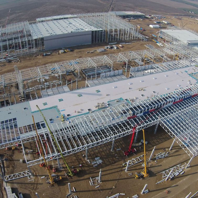 Construction site of Volkswagen Plant in Wrzesnia Poland