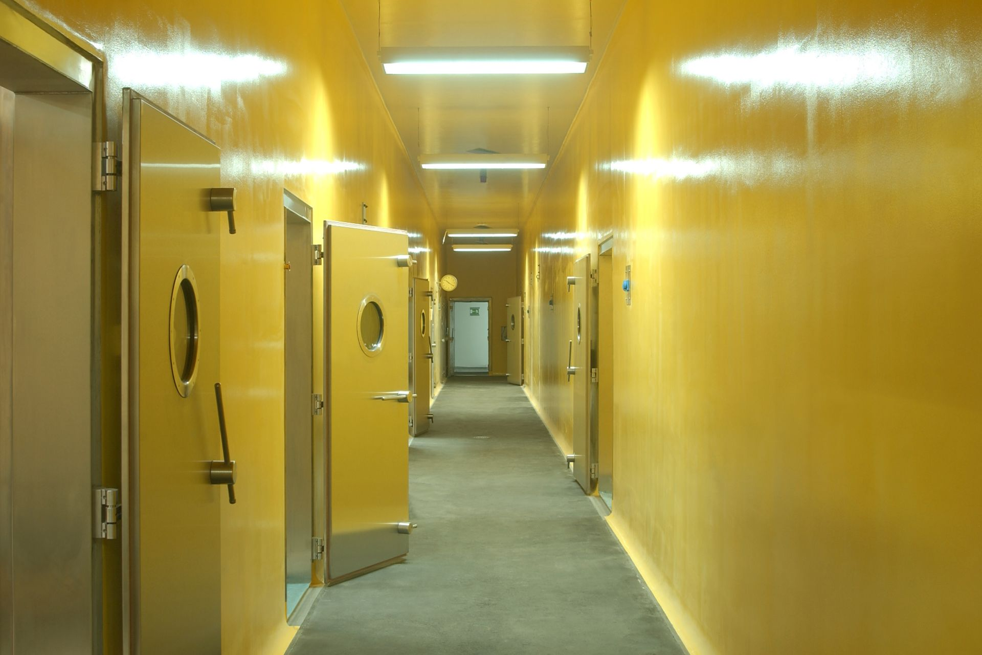 Colorful wall coating in laboratory corridor made with Sika coating systems