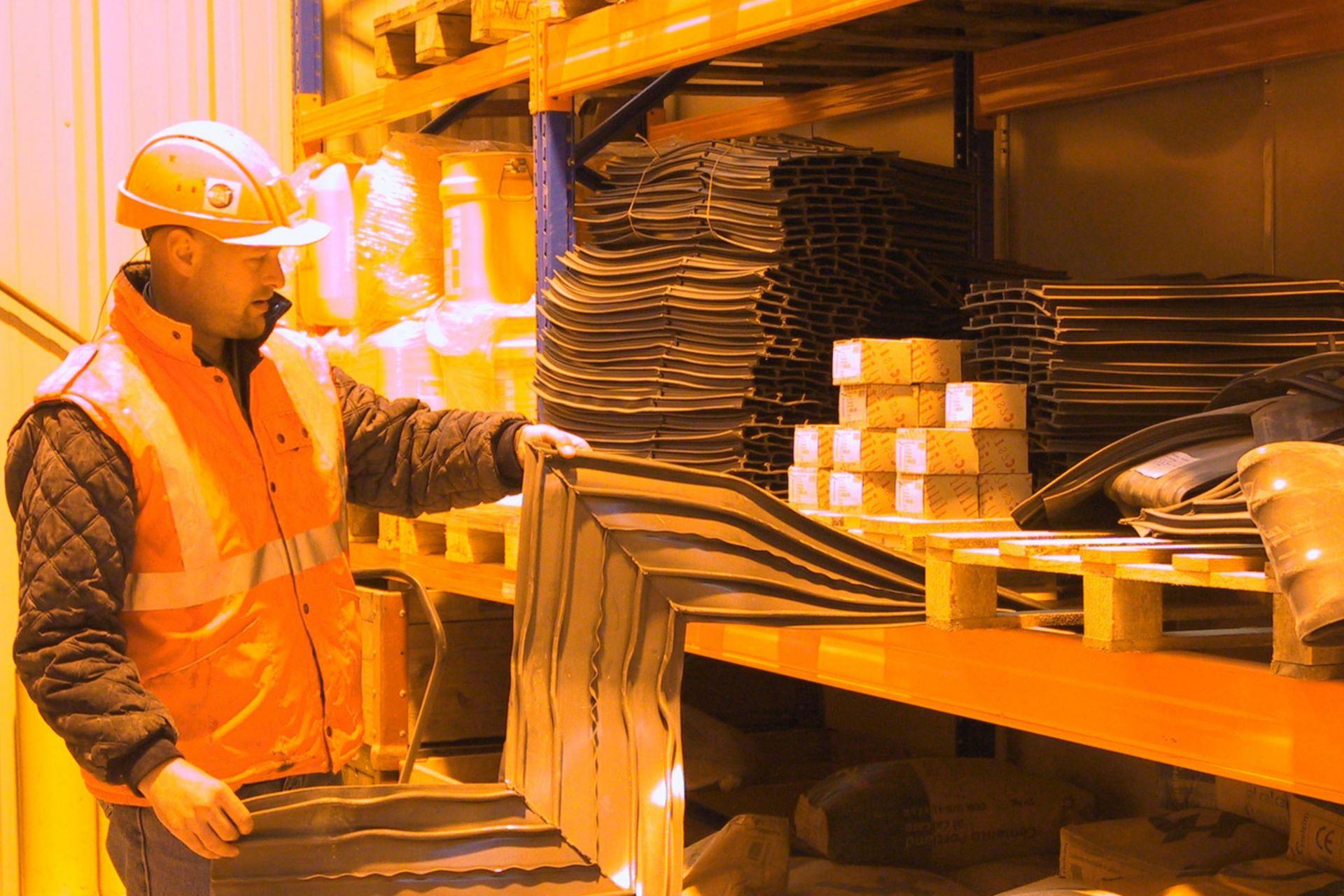 Worker in the warerhouse at Gotthard Base Tunnel Construction site