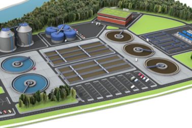 Illustration of a waste water treatment plant