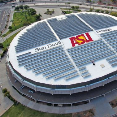 Solar roof with single-ply Sarnafil membrane installed on Wells Fargo Arena in Tempe in USA