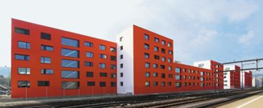 Building with structurally bonded windows with Sika adhesives in Schlieren, Switzerland