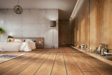 Wood floor in bedroom