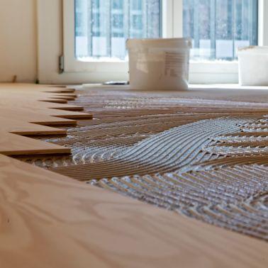 Wood Floor Adhesive Application