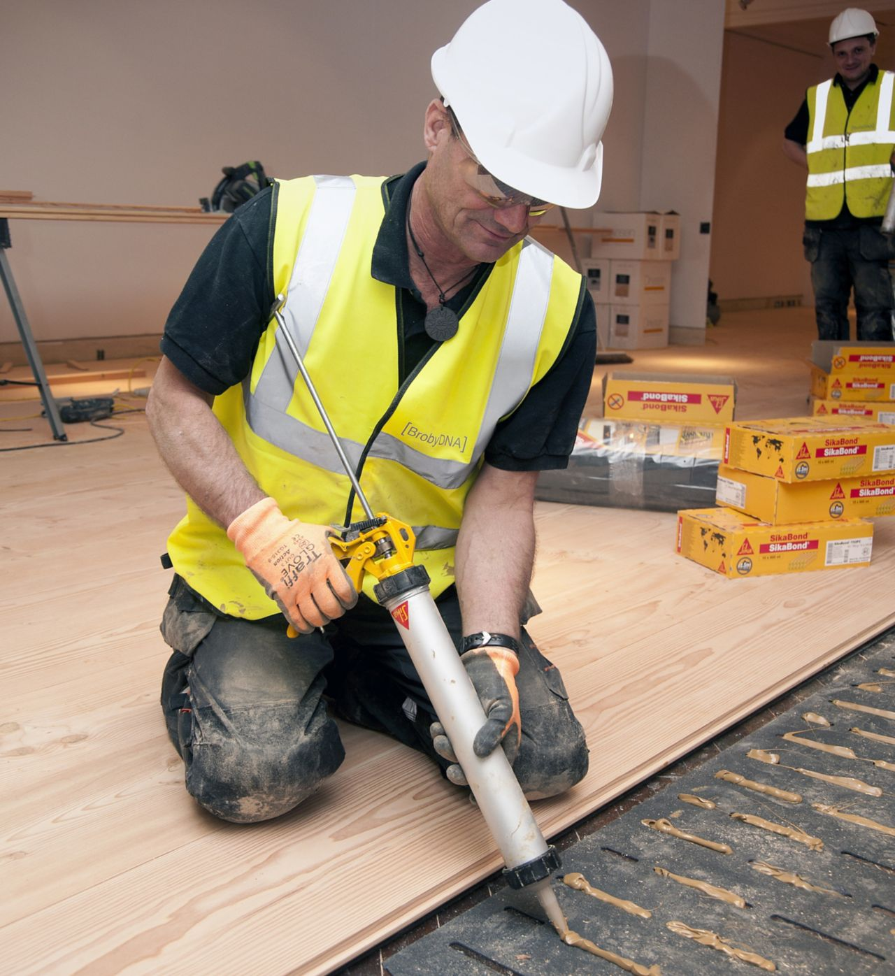 wood floor adhesive application