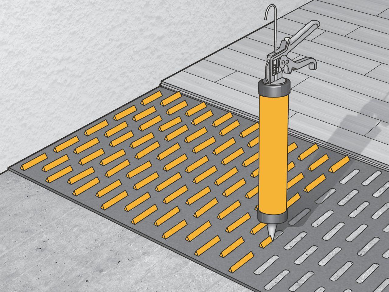 aplikace systému AcouBond - lepení dřevěných podlah