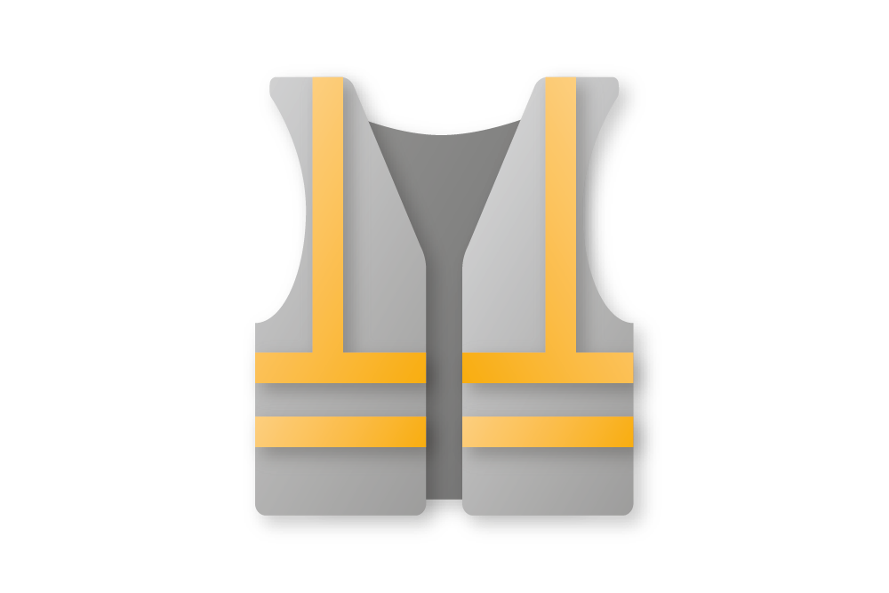 Work safety icon illustration - worker man with hardhat and glasses