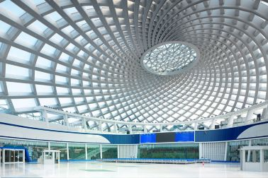 Roof structure from inside Yujiapu Railway Station