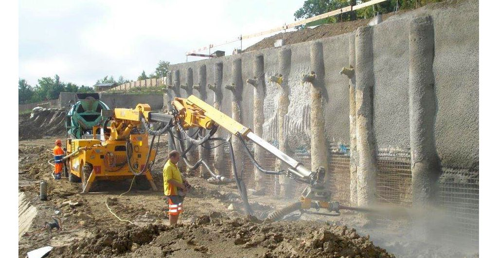 Spraying concrete at the construction of Elephant House in Zurich Zoo