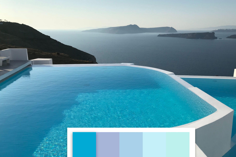 Vista piscina pigmento celeste