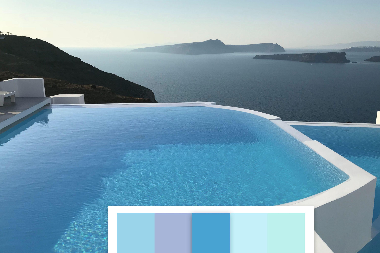 Vista piscina pigmento azzurro scuro