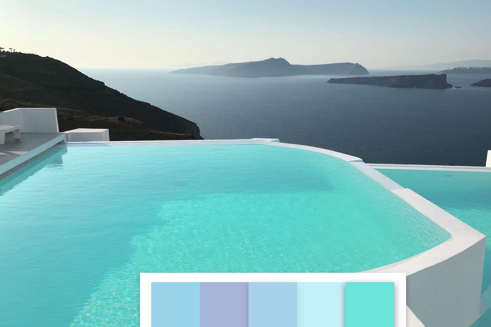 Vista piscina pigmento verde acqua