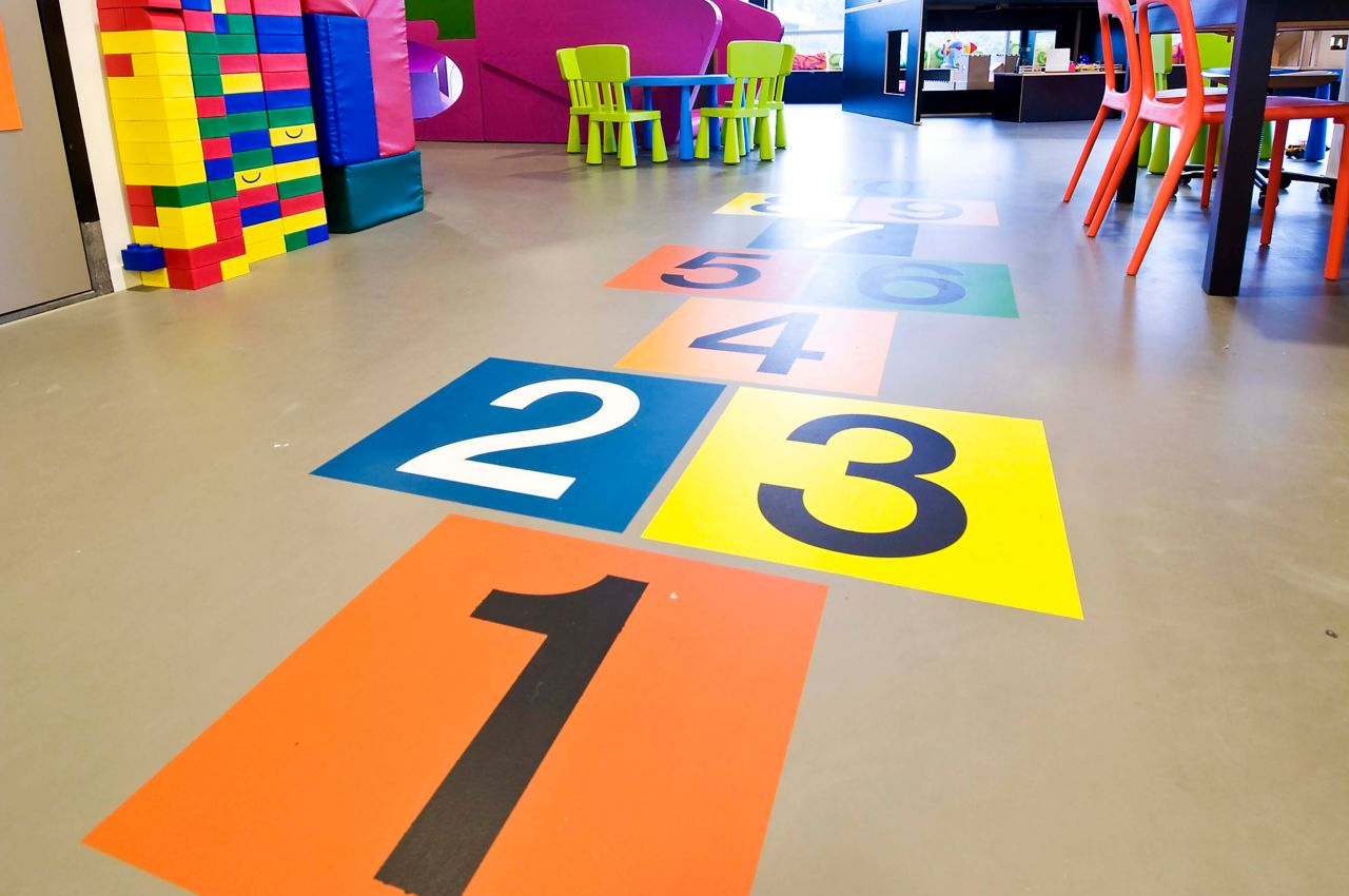 Colored fields in a child care center