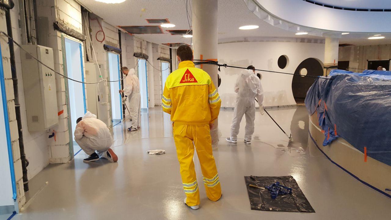 Sika concrete floor coating application training in Ethiopia