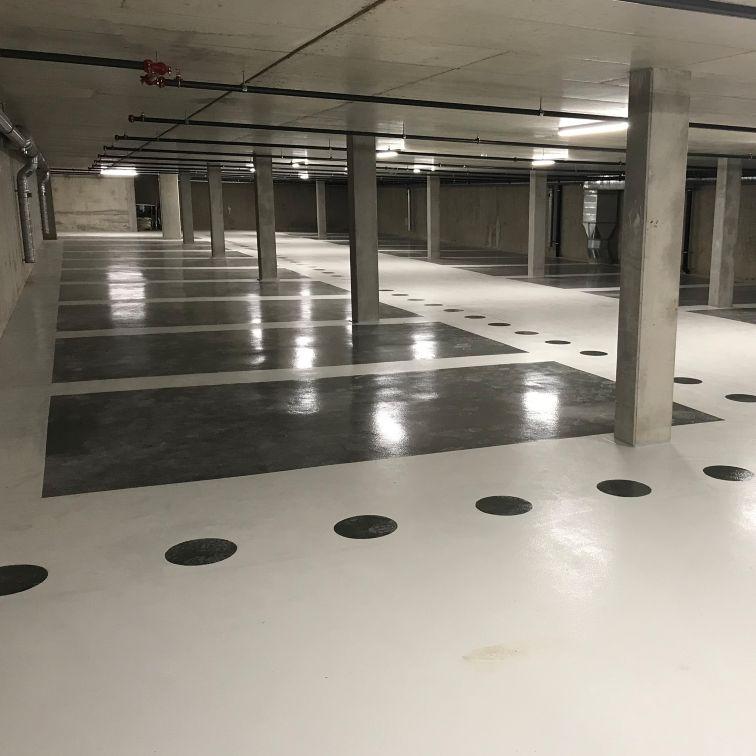 Revêtement de sol sans joint pour parking souterrain, Collonge-Bellerive