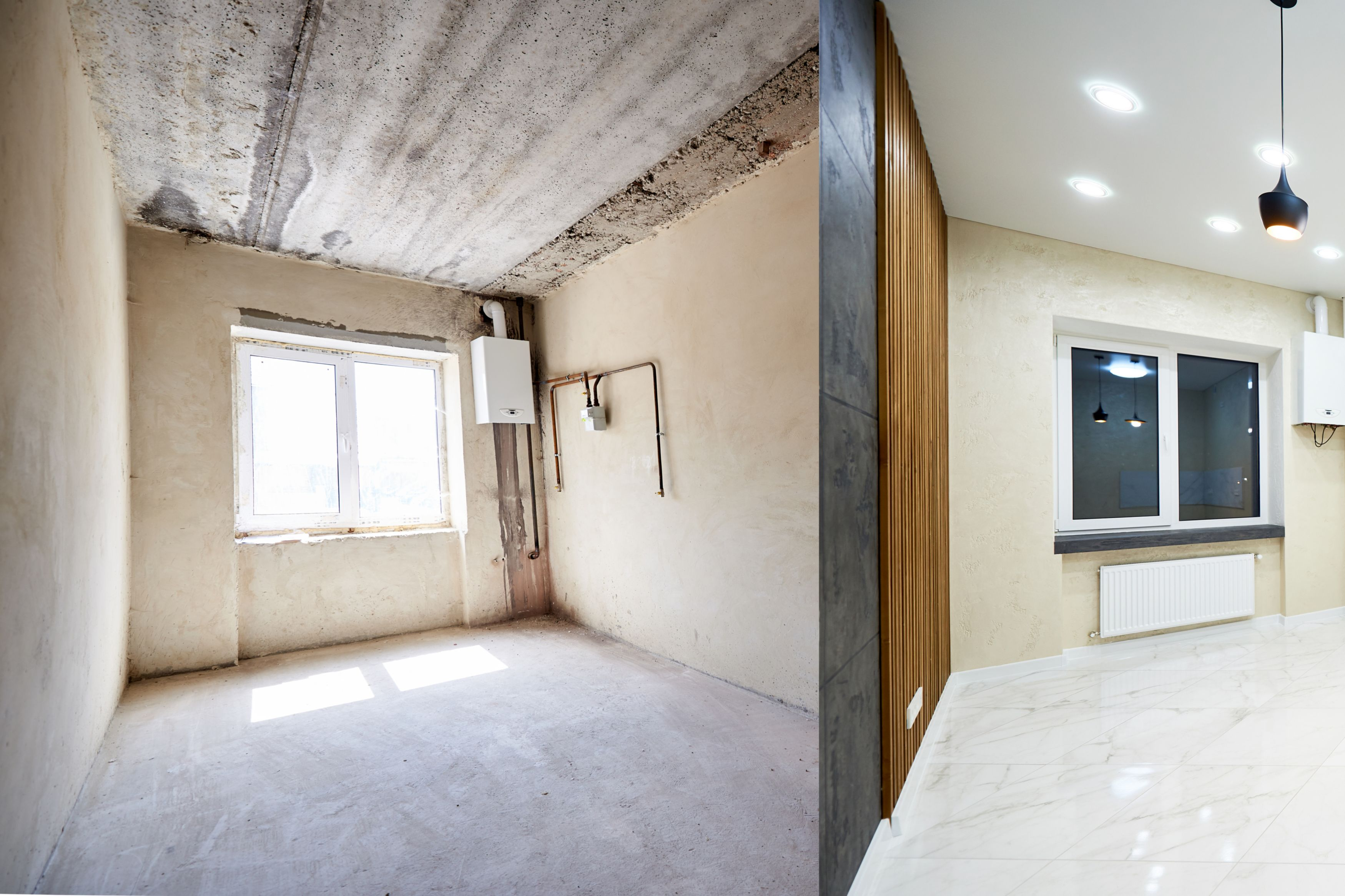 Comparison snapshot of a big beautiful room in a private house before and after reconstruction, empty grey walls vs renovated light tiled room