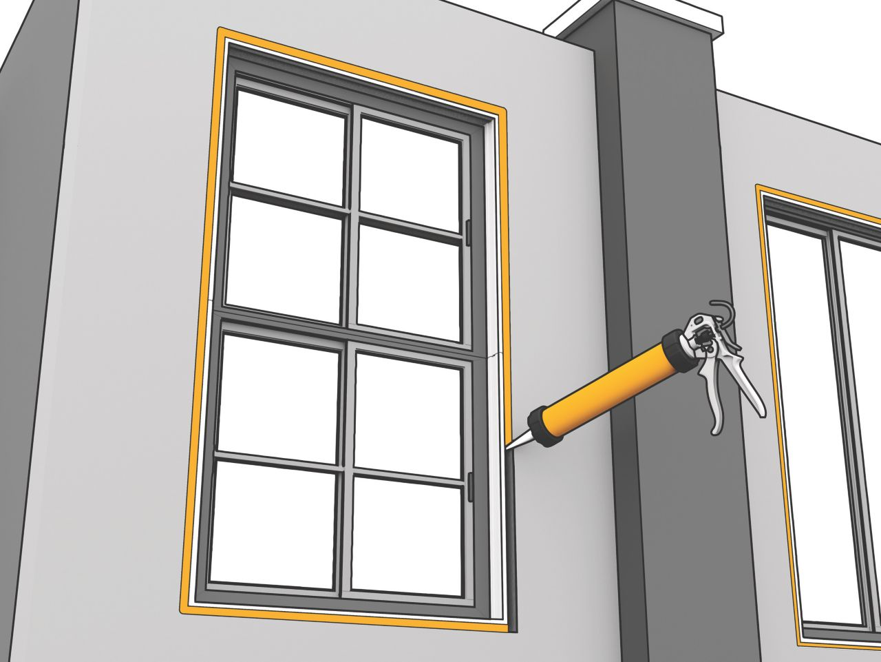 Application of Sika connection joints for windows installation