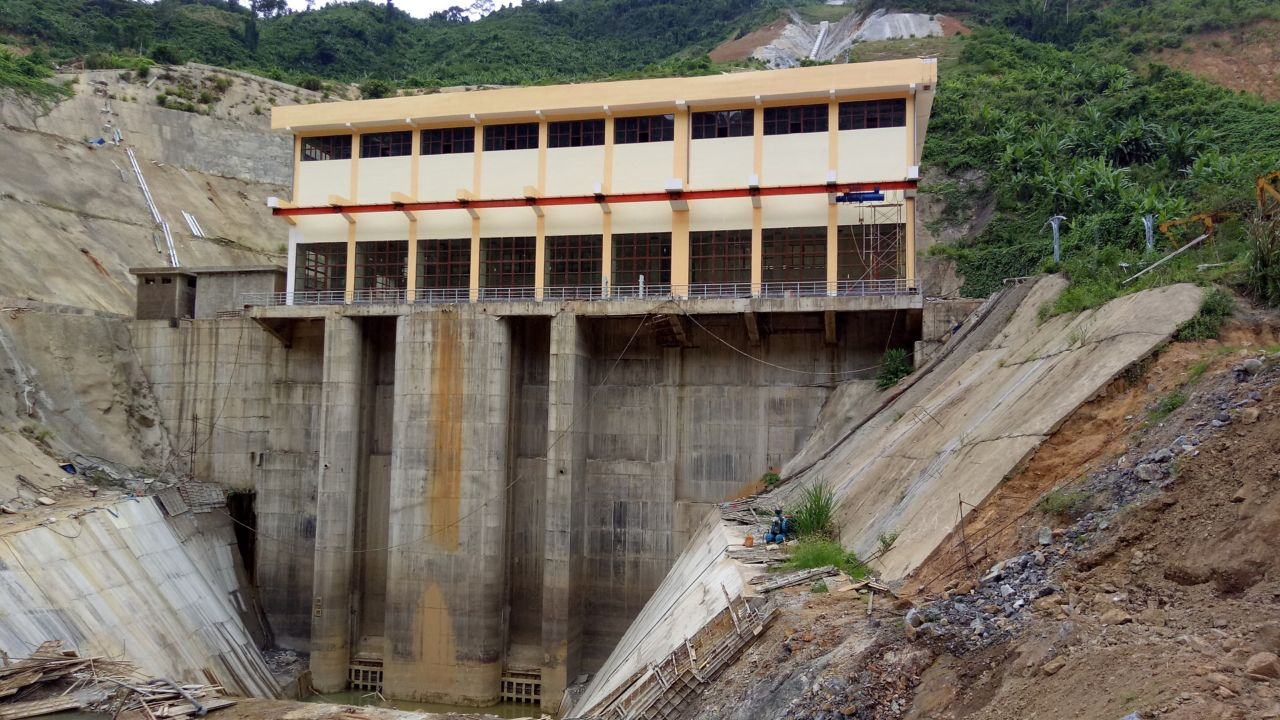 Dam powerhouse building at Song Bung hydropower plant in Vietnam