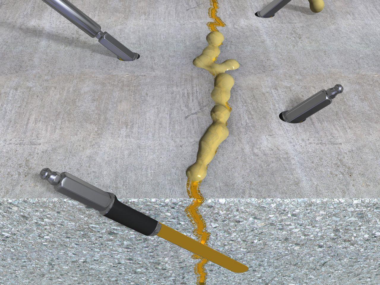 Injection for waterproofing leaking cracks 3d rendering