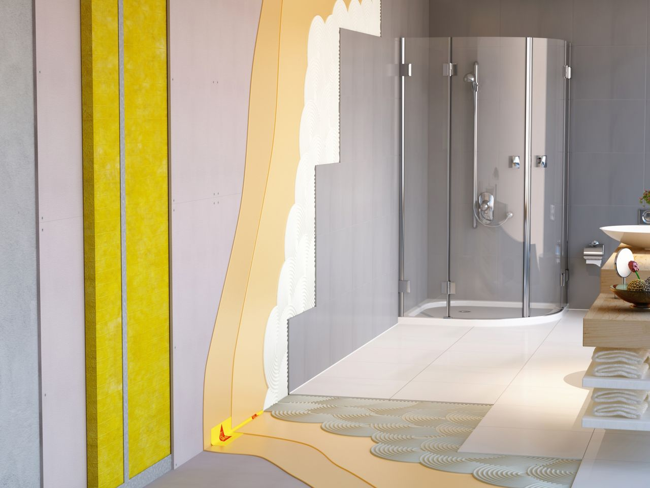 Illustration of tile setting adhesives waterproofing in wet area bathroom with shower stall and wall insulation