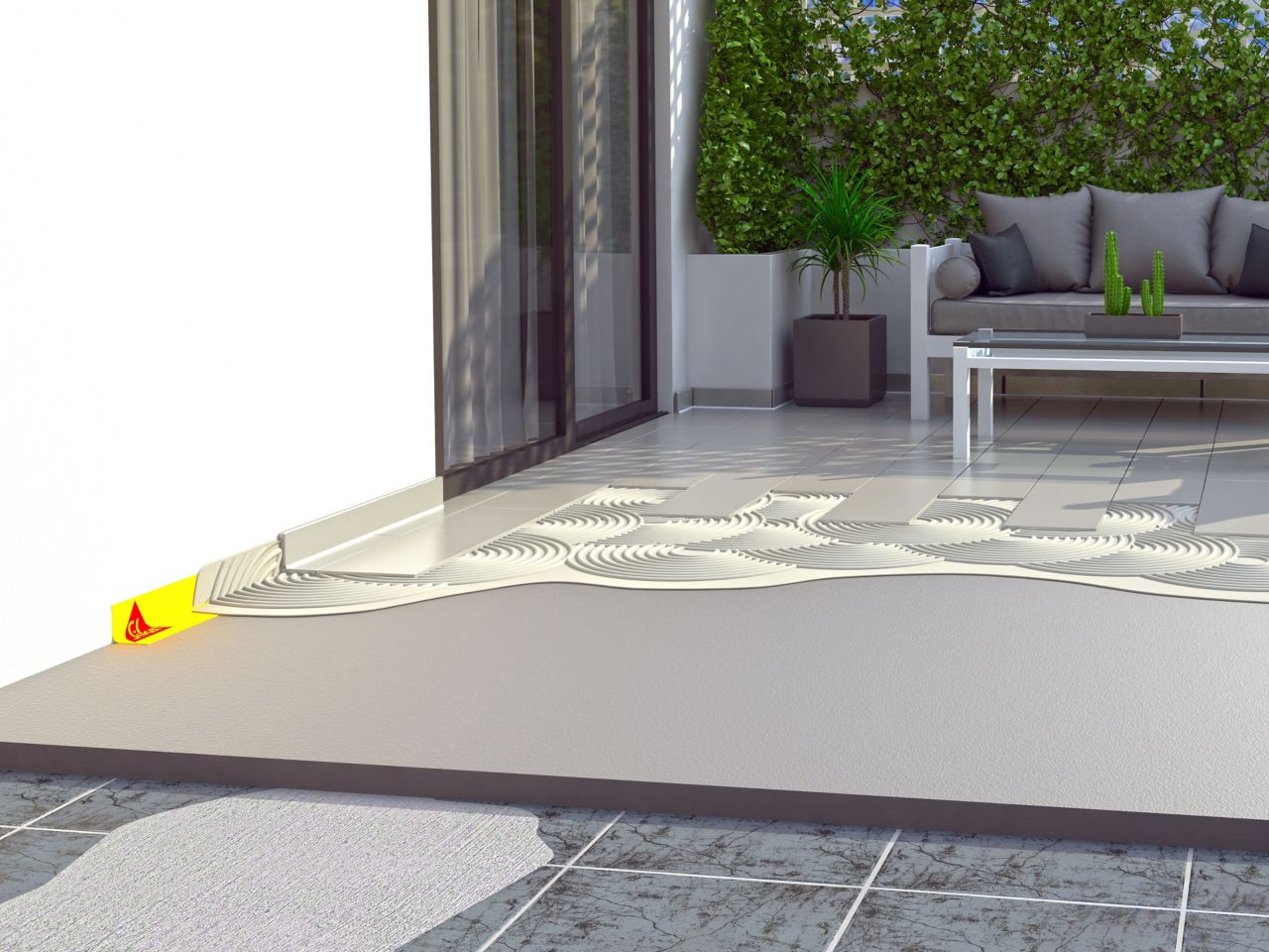 Illustration of tile setting adhesives and waterproofing tape for balcony terrace patio area outside home