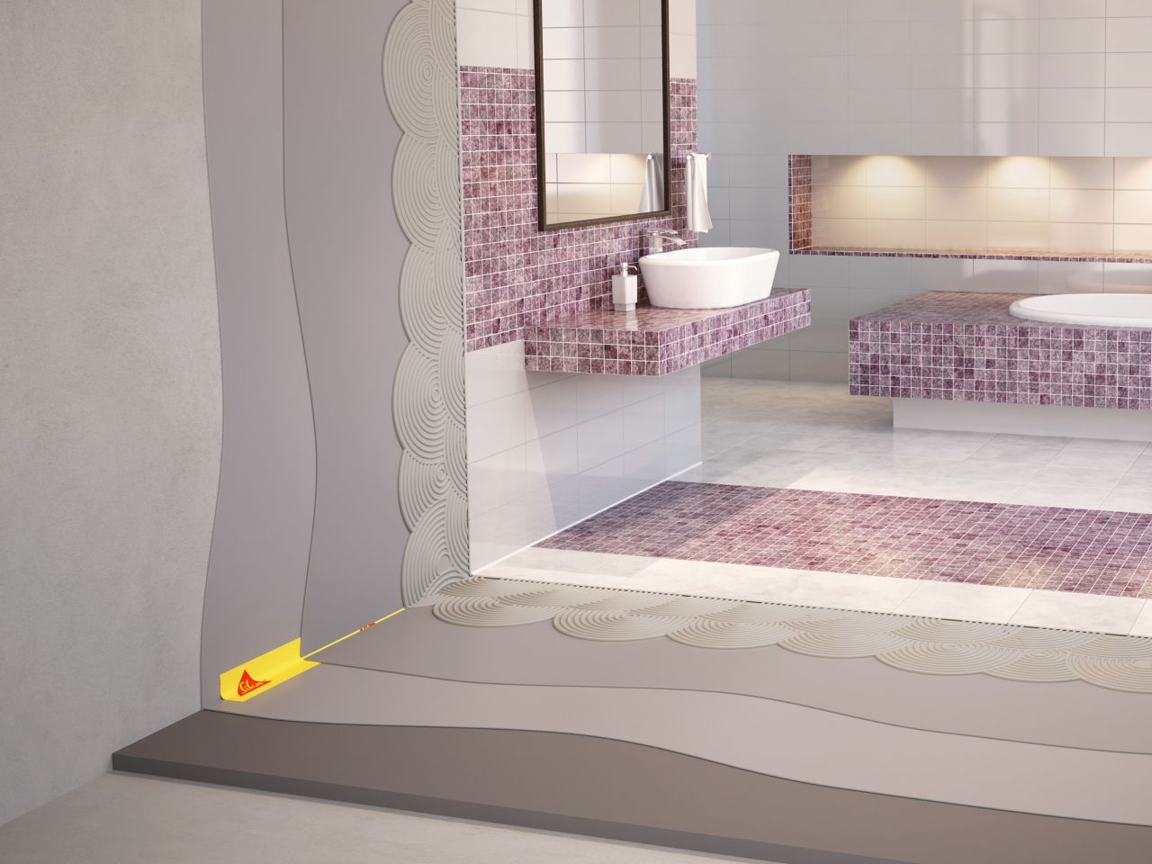 Illustration of tile setting adhesives and waterproofing tape for wet area bathroom with purple and white mosaic tiles, sink and bathtub
