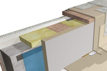 Green roof system buildup 3D rendering at parapet