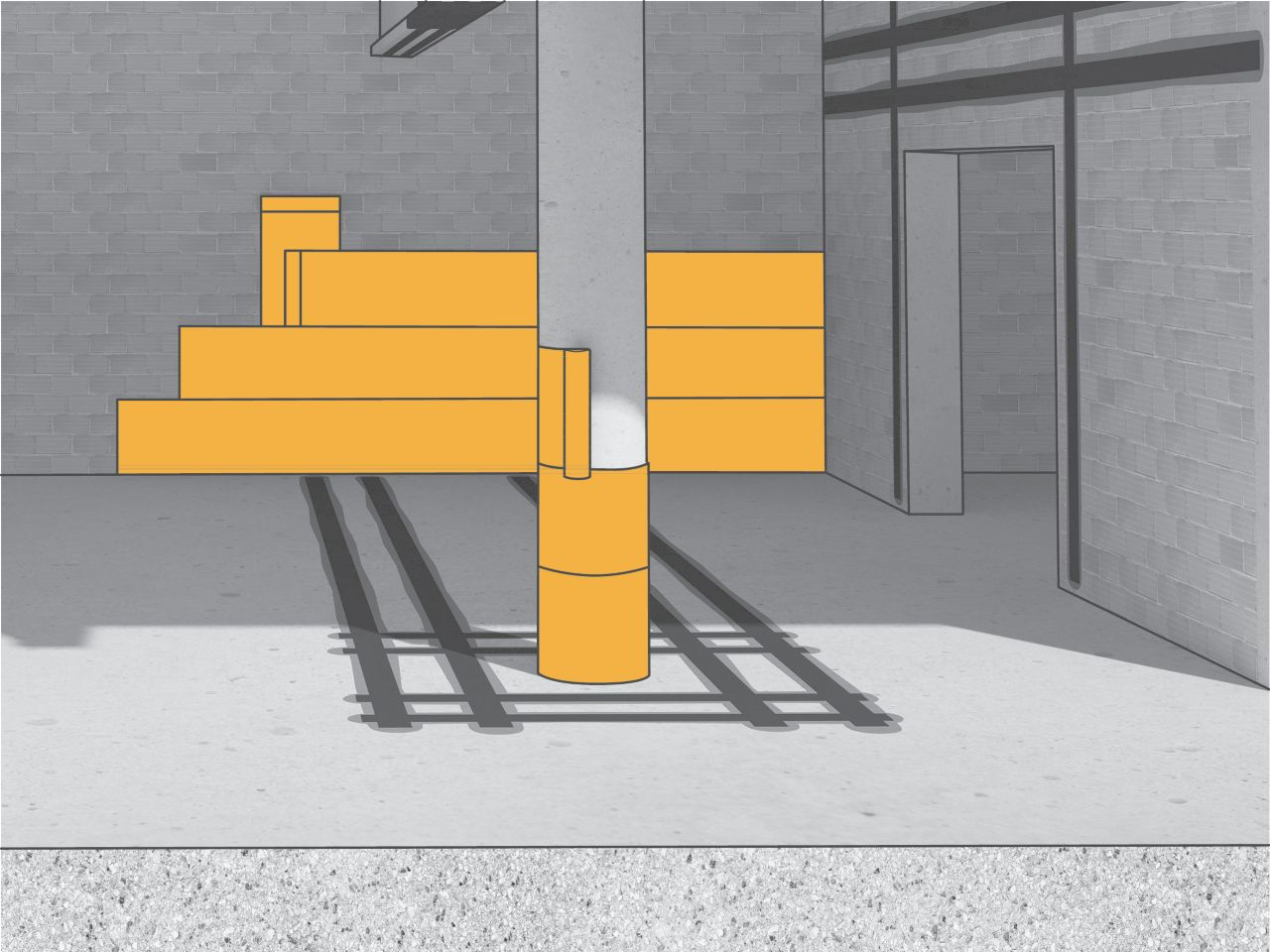 Illustration of concrete and brick building interior and column reinforced with structural strengthening fiber FRP fabric