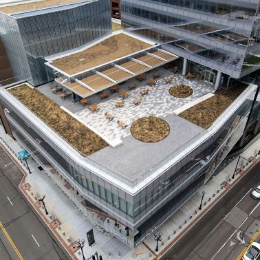 Aerial view of the lower Centene Plaza building with a green roof and sitting area for people to enjoy