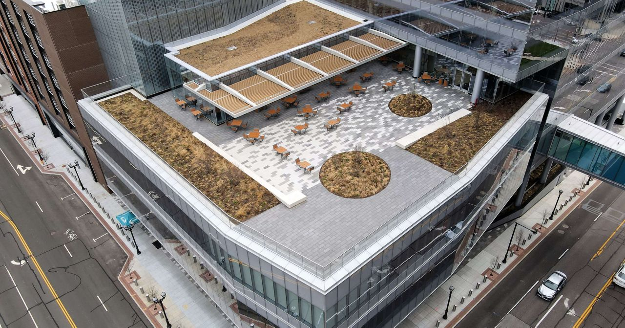 Centene Plaza Ariel View with a Sarnafil Membrane Roofing System