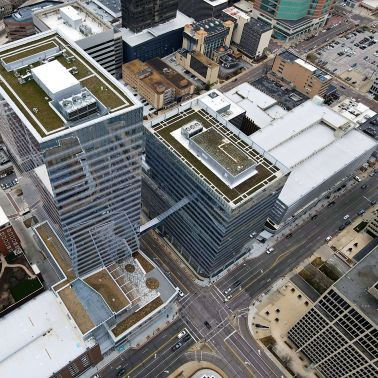 Centene Plaza building shown with a green roof on a skyscraper building.