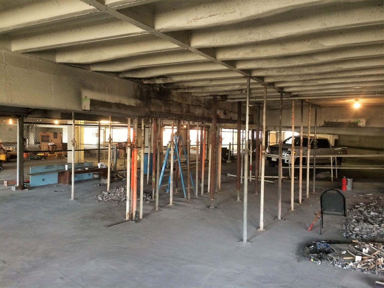 Repairs inside Brandies & Son Parking Garage