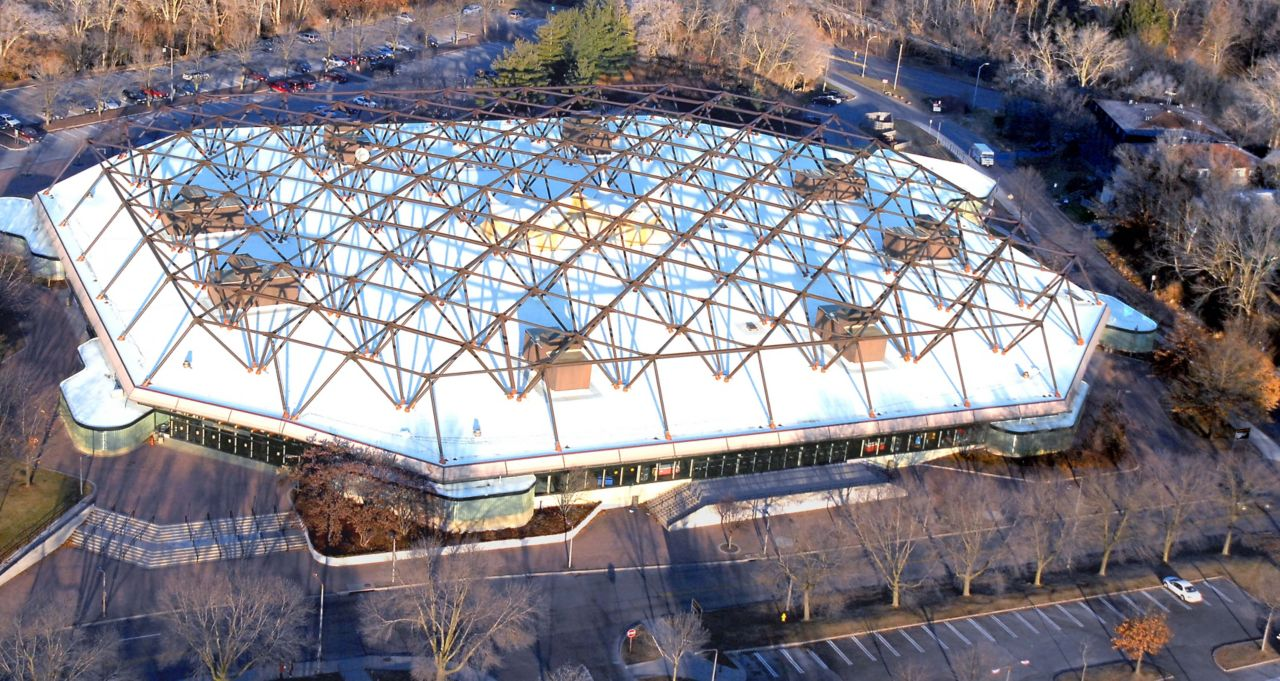 Arena building with a white membrane roof